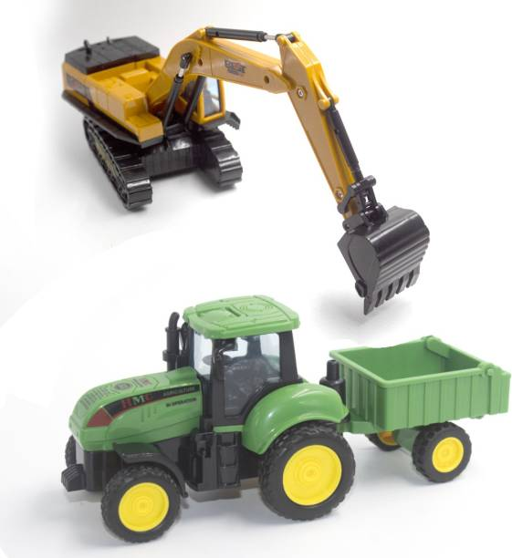 deoxy Construction Long Crane Excavator Rotate by 360 Degree JCB Toy Loader farm tractor Toy and Excavator Vehicle Engineering Toy for 3 Years and Above Age Toddlers ,High Speed Friction Excavator toy for boys toy for kids toy for children push and pull along toy (Pack of: 2)