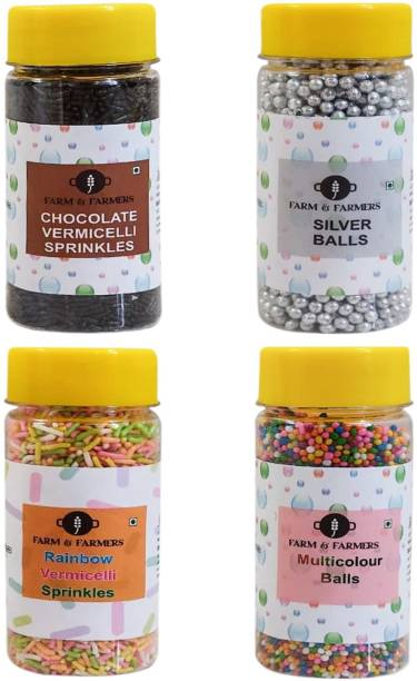 FARMS & FARMERS Silver Balls,Rainbow Sprinkles/Vermicelli,Chocolate Vermicelli Sprinkles,Multicolored Balls for Cake Decoration- Pack of 4 (80 GM Each) Sprinkles