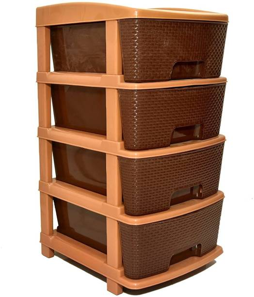 COROFFY COROFFY 4XL Plastic Modular Drawer Storage System With Wooden Design for Home & Office /Hospital, Parlor, School, Doctors, Home and Kids and Daily use (4 XL-Large, Brown) (4 Drawer) Plastic Free Standing Cabinet