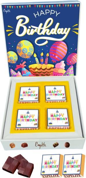 Expelite Birthday Chocolates for Him- 4 wrapped Chocolates Gift box for Birthday Love Bars