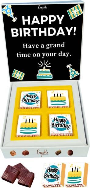 Expelite Happy Birthday Chocolates - 4 pieces wrapped Chocolates Gift Box for Birthday Bars
