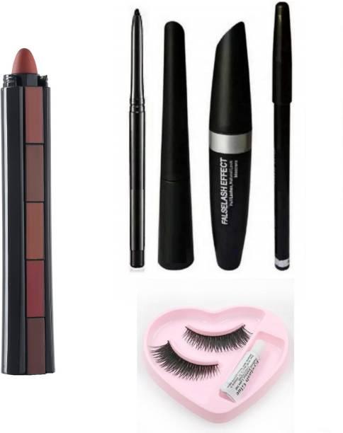 NYN HUDA 5 in1 Creamy Matte Lipstiks & Insta EyeLiner + Curly Mascara + Iconic Kajal + EyeBrow Pencil (4in1) & EyeLashes +Glue Set