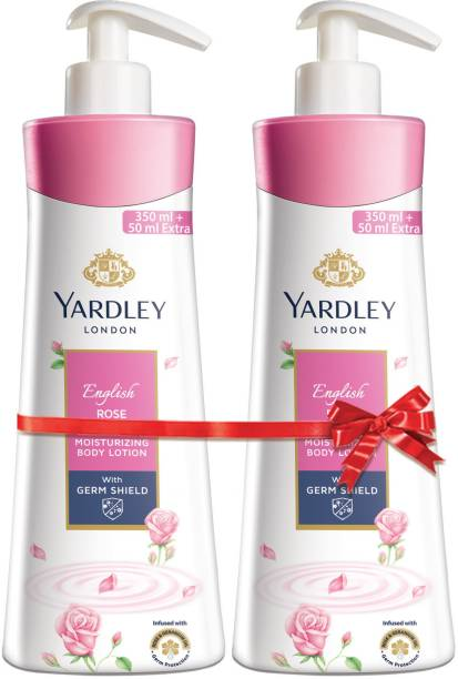 Yardley London English Rose Moisturising Body Lotion with Germ Shield (350ml + 50ml free)