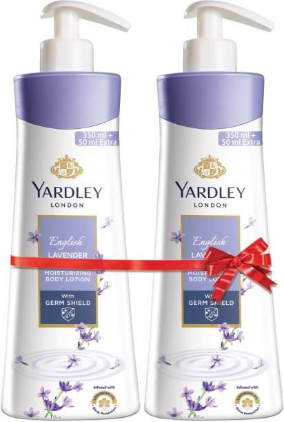 Yardley London English Lavender Moisturising Body Lotion with Germ Shield (350ml + 50ml free)
