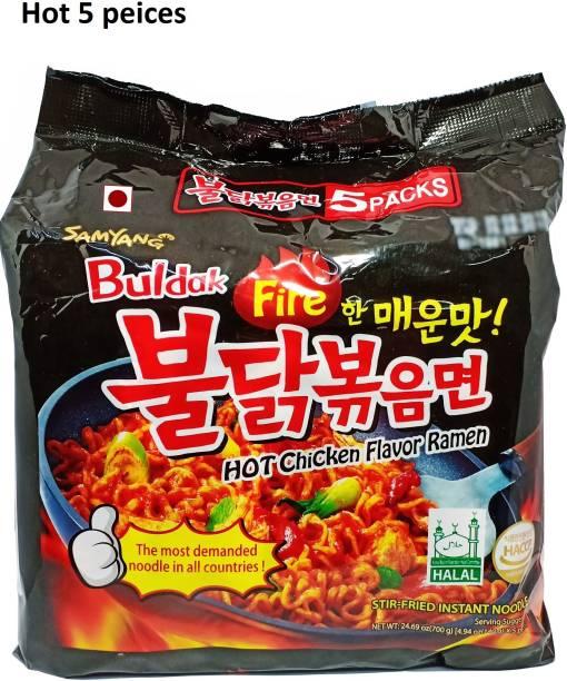 Samyang Buldak Fire Masala Noodles, 5 peices (5*140g) Instant Noodles Non-vegetarian