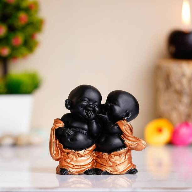 Royalbox Handcrafted Resine Little Laughing Buddha Showpiece for Home and office Decorative Showpiece  -  11 cm