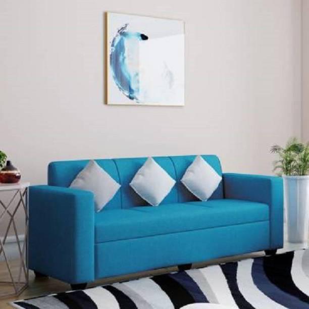 Padamshree Burano Fabric (Finish Color - Turquoise Blue) Fabric 3 Seater  Sofa
