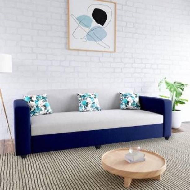 Padamshree Emma Fabric (Finish Color - Blue and Grey) Fabric 3 Seater  Sofa