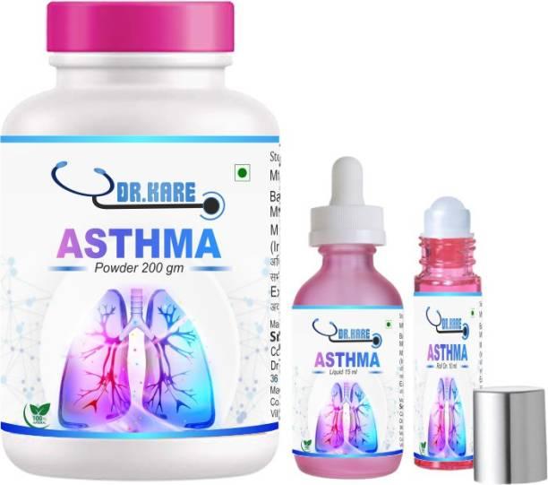Sri herbasia biotech DR Kare Asthma medicine 200 Gm Powder, 15 ml Liquid,10ml Rollon