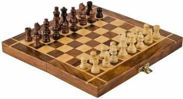 "Writzo ""10X10"" WOODEN Folding Travel Chess Board 25.4 cm Chess Board"
