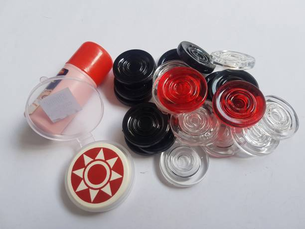 RJ Gallery Premium Quality Crystal Fiber carrom coins set of 24 with striker and powder 2 cm Carrom Board