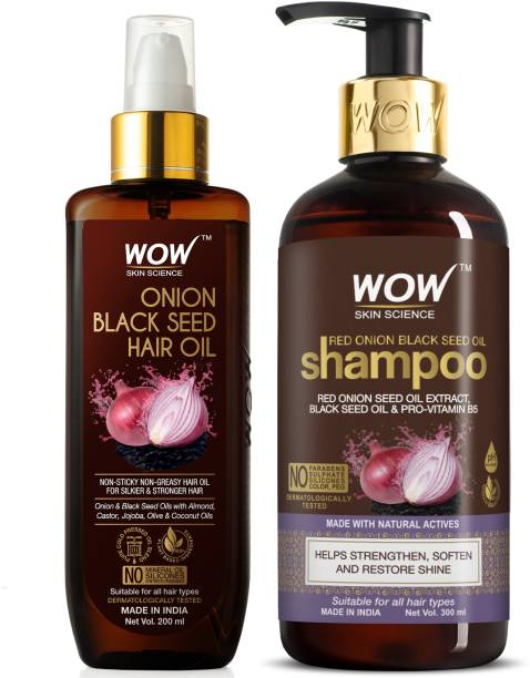 WOW SKIN SCIENCE Red Onion Black Seed Oil Ultimate Hair Care Kit (Shampoo + Hair Oil) (2 Items in the set)