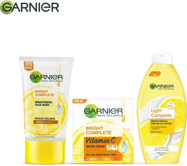 GARNIER Vitamin C Skin Care Mini Combo Pack (Bright Complete : Facewash, 150g + Serum Cream SPF 40, 45g + Light Complete Body Lotion, 250 ml) Face Wash