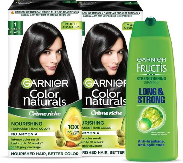 GARNIER Color Naturals - Natural Black Hair Colour, Pack of 2 + Fructis Long and Strong Shampoo, 175ml | Ammonia Free Hair Color + Shampoo Combo Pack , Natural Black