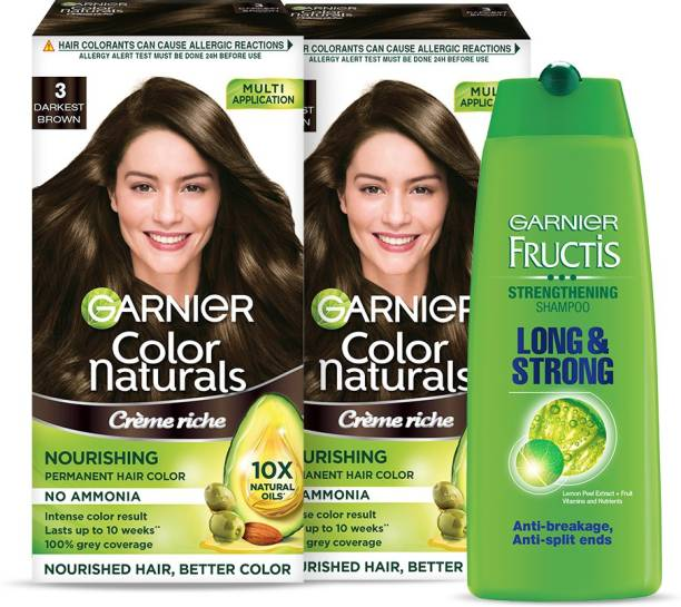 GARNIER Color Naturals - Darkest Brown Hair Color, Pack of 2 + Fructis Long and Strong Shampoo, 175ml | Ammonia Free Hair Color + Shampoo Combo Pack , Darkest Brown
