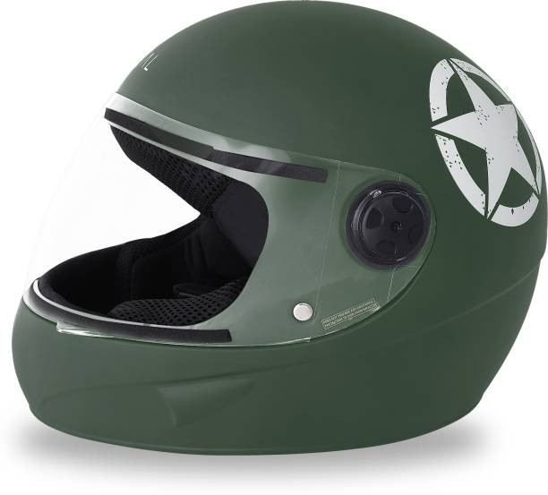 GoMechanic Anymal Series- Phoenix Army Green Full Face with Clear Visor Motorsports Helmet