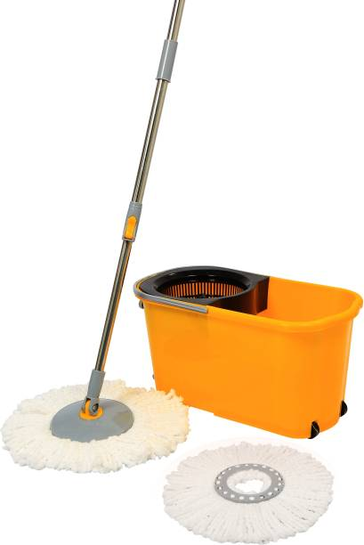 Esquire Classic Spin Mop Yellow Bucket Set with Pull Handle, Wheels with an Additional Microfiber Refill Mop Set