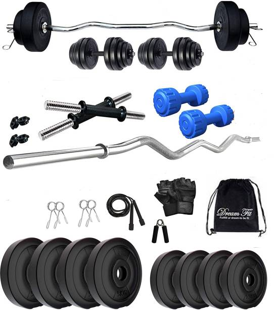 DreamFit 30 kg 30 kg Home gym with 3 ft Curl Rod Free pair of 2 kg pvc Dumbbells ( 2kg x 2 = 4 kg) And Accessories Home Gym Combo