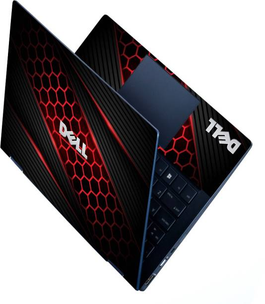 dzazner HD Printed Full Panel Laptop Skin Sticker Vinyl Fits Size Upto 15 inches No Residue, Bubble Free - Dell Black Red Honeycomb Self Adhesive Vinyl Laptop Decal 15.6