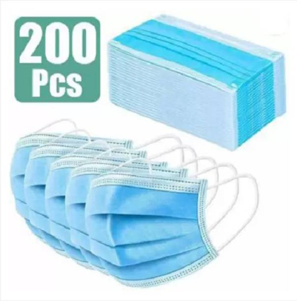 Nea 3 Ply / 3 Layered Face Mask with Nose Pin 100% Certified pack of 200 Pharmaceutical / Surgical Face masks with Meltblown layer SURGICAL-200 mask 002 Water Resistant Surgical Mask With Melt Blown Fabric Layer