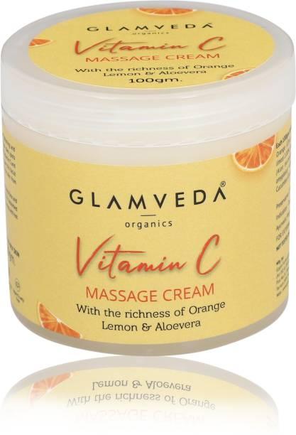 GLAMVEDA Vitamin C Brightening & Lightening Massage Cream | For dark Spot Removal | 100 gm