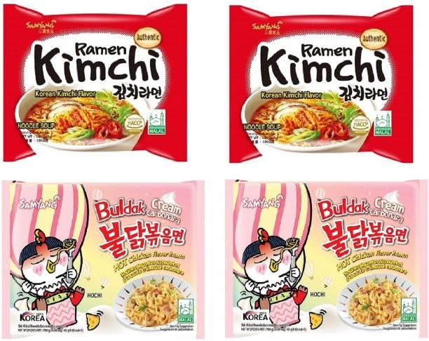 Samyang Hot Chiken Flavour Cream Carbo & Kimchi Instant Noodles (Pack Of 4) Instant Noodles Non-vegetarian