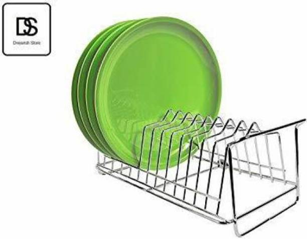 PK India Stainless Steel Plate Stand for Kitchen Dish Storage Rack Utensile Holder - 33x13x16 cm - 12 Plate Storage Dinner Plate