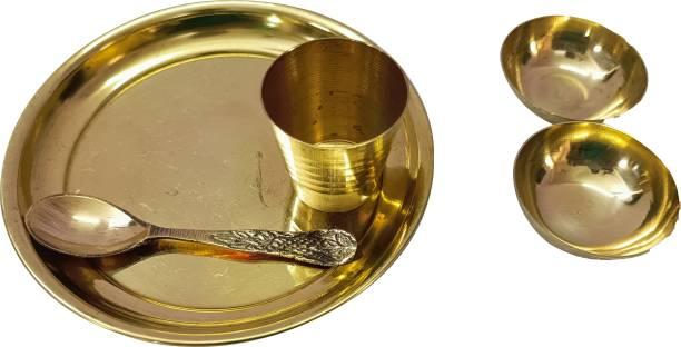 PURAVEDIC Brass Laddu Gopal Ji Bhog Thali Set with 2 Katori, Glass, Spoon for Temple, Home Decor (Golden)12CM Brass