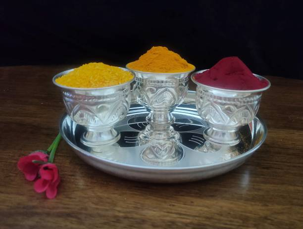 Sigaram German Silver Pooja Thali Set For Home or Festival Decoration, Office and Return Gift K2323 Silver Plated
