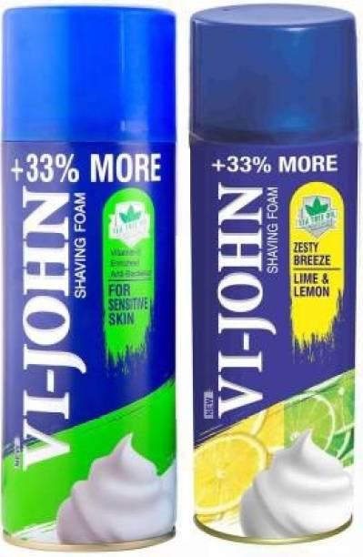 VI-JOHN Shaving Foam For Sensitive Skin (400 gm) & Shaving Foam Lime & Lemon (400 gm)   Pack Of 2