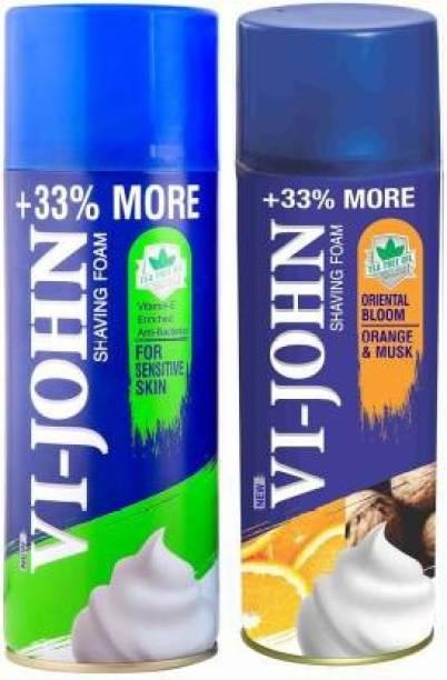 VI-JOHN Shaving Foam For Sensitive Skin (400 gm) & Shaving Foam Orange and Musk (400 gm)   Pack of 2