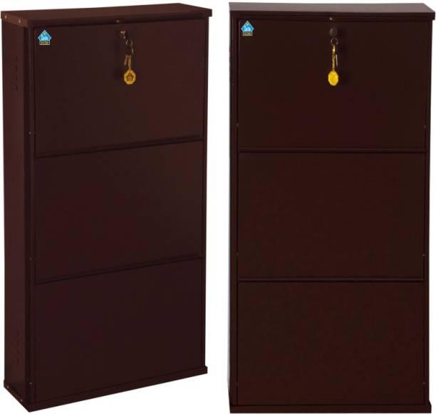 Delite Kom 20 Inches wide Latitude Three Door Powder Coated Wall Mounted Metallic Coffee Metal, Metal, Metal Shoe Rack
