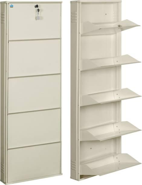 Delite Kom 20 Inches wide Latitude Five Door Powder Coated Wall Mounted Metallic Ivory Metal, Metal, Metal Shoe Rack