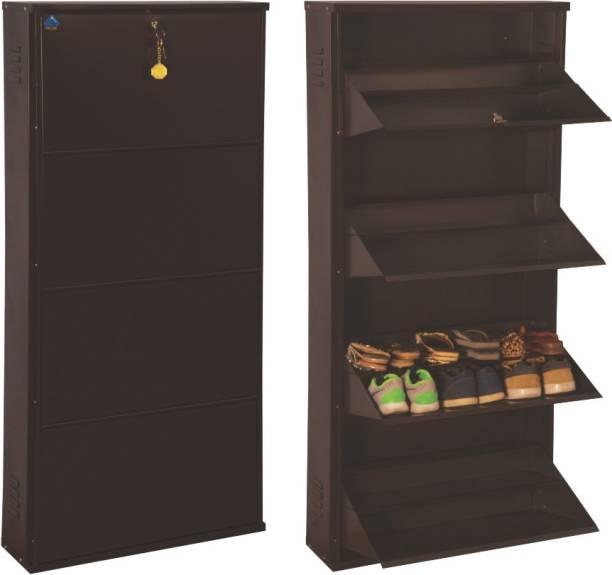 Delite Kom 24 Inches wide Jumbo Four Door Double Decker Powder Coated Wall Mounted Metallic Coffee Metal, Metal, Metal Shoe Rack