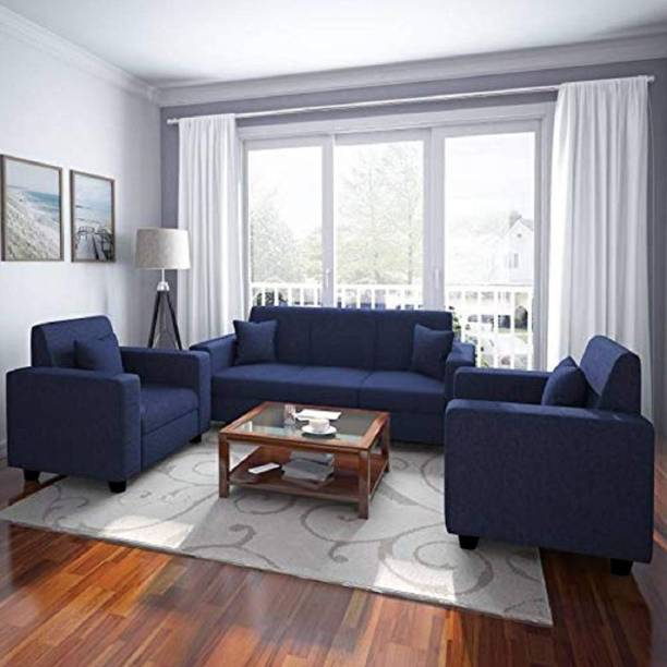 BHARATH ENTERPRISES Fabric 3 + 1 + 1 BLUE Sofa Set