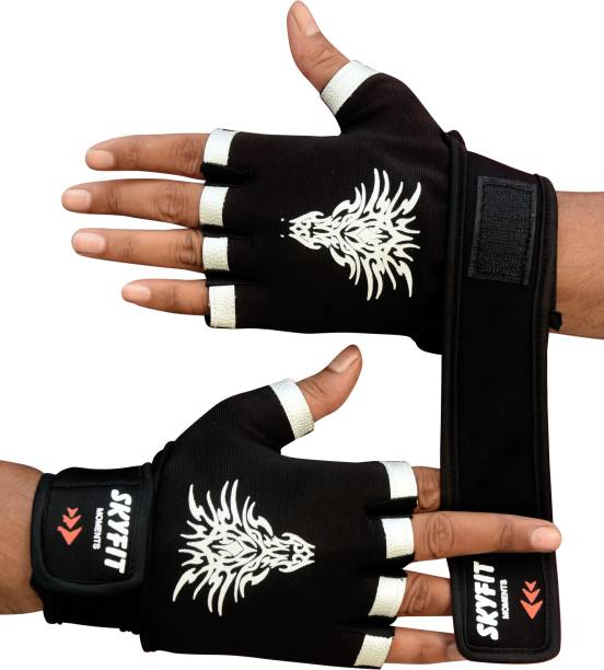 SKYFIT Comfortable Leather Padded Gym Sports Gloves Gym & Fitness Gloves