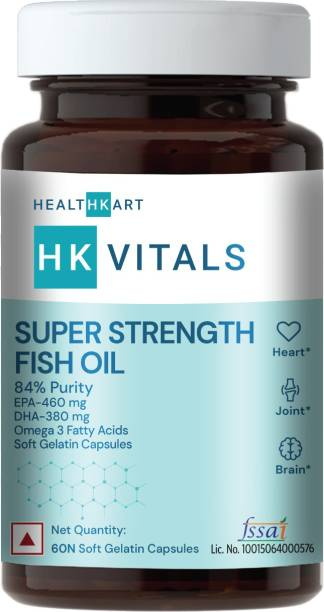 HEALTHKART HK Vitals Super Strength Fish Oil Supplement , 84% Purity, 460mg EPA and 380mg DHA