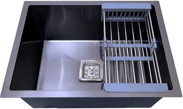 "Prestige ( 24""x18""x10"") HANDMADE MATT FINISH SINGLE BOWL STAINLESS STEEL KITCHEN SINK (BLACK) with Waste Coupling And Drain Basket , Vessel Sink (Black) Vessel Sink"