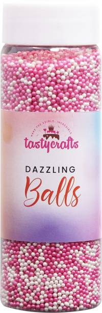 TastyCrafts Bakestable Colour Balls | Edible | Sprinkle Decorations for Cake Décor | Coloured Sugar Confectionery | Best Use for Upper Surface Decoration | Multicolor - 100 GM (DB-04) Topping