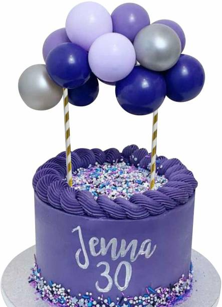 Party Propz Balloon Cake Topper Happy Birthday Decorating Items 5 Inch Mini Balloons Cake Purple, Silver Baby Boy Girl Shower Birthday Bridal Party Cake Decoration Supplies ( Purple Silver) Cake Topper