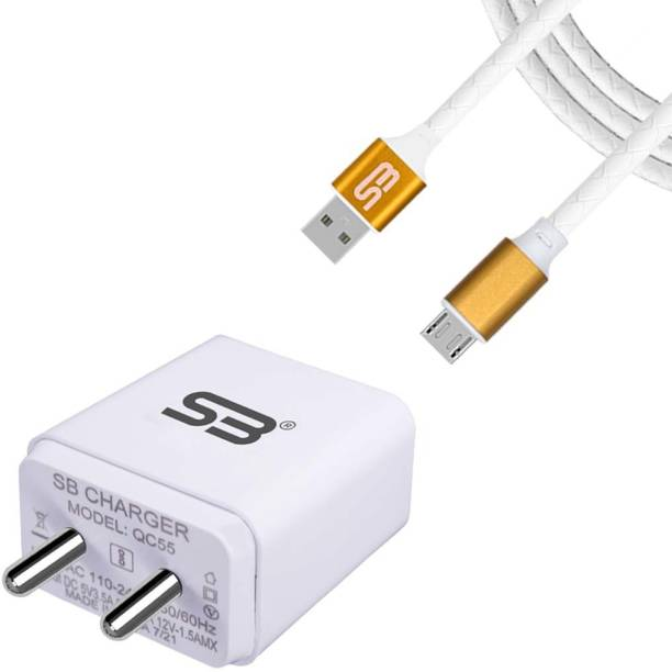 shopbucket 3.4AMP Wall Fast Adapter 18W BIS Certified, Auto-detect Technology, Single USB Port Mobile Charger (White) With Micro USB 2.4A Data cable (Gold) Length 1 Meter Long Cable Compatible With Tecno Camon iClick, Tecno Camon i Twin, Tecno i7, Tecno i5 Pro, Tecno Camon i2X, Tecno Camon iAir 2 Plus, Tecno i3 Pro. 18 W 3 A Mobile Charger with Detachable Cable