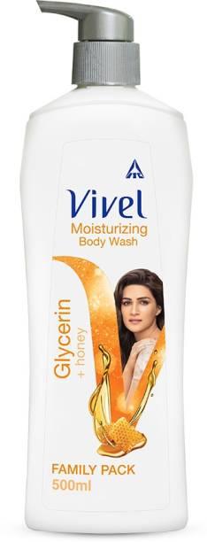 Vivel Body Wash, Glycerin & Honey, Moisturising Shower Gel, For Glowing skin, 500ml Pump, For women and men