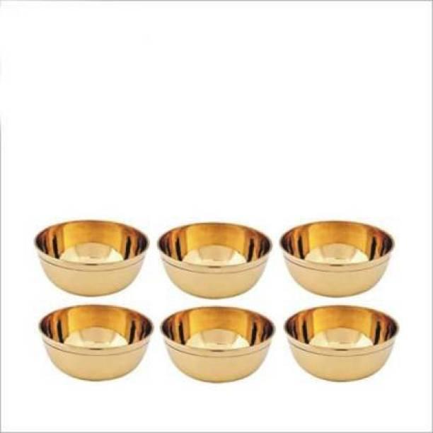 Rolimoli Brass Puja Katori (Gold) Brass Decorative Bowl (Gold, Pack of 6) Brass Decorative Bowl