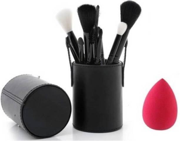 RHV Professional Makeup Brush Set (12 Pcs) with puff