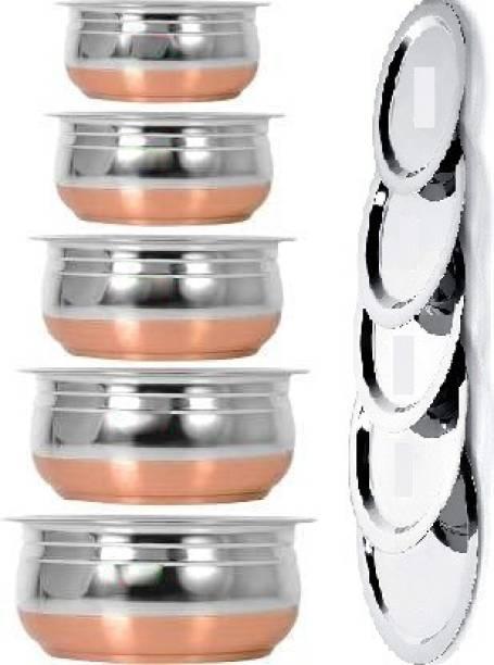 Flipkart SmartBuy Stainless Steel Handi Set Copper Bottom handi set of 5 Cookware/ Container/pot pan/patila/bhagona/Serving bowl/biryani cook & serve Set With Lids (Stainless Steel, Copper, Induction Bottom) Capacity 400 ML 650 ML and 800 ML 1200 ML,1600 ml Stainless Steel Serving Bowl (Silver, Pack of 5) Tope Set with Lid 0.4 L, 0.65 L, 0.8 L, 1.2 L, 1.6 L Cookware Set
