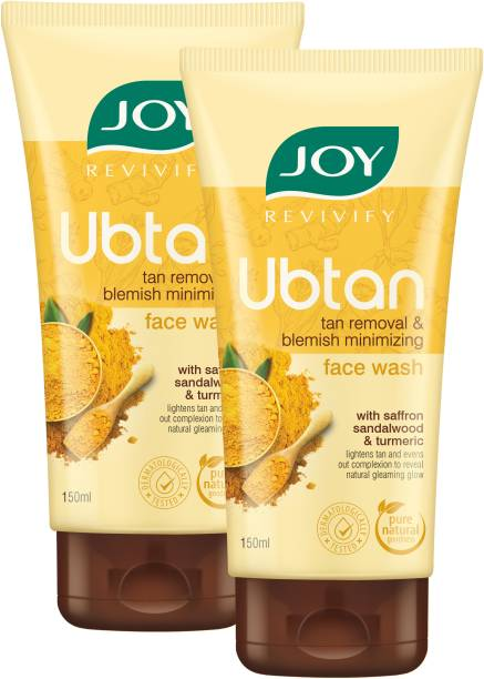 Joy Revivify Ubtan Tan Removal and Blemish Minimizing With Saffron, Turmeric, Chickpea Flour, Almond Oil , Rose Water, Sandalwood Oil , Walnut Beads - No Parabens  ( Pack of 2 X 150ml ) Face Wash