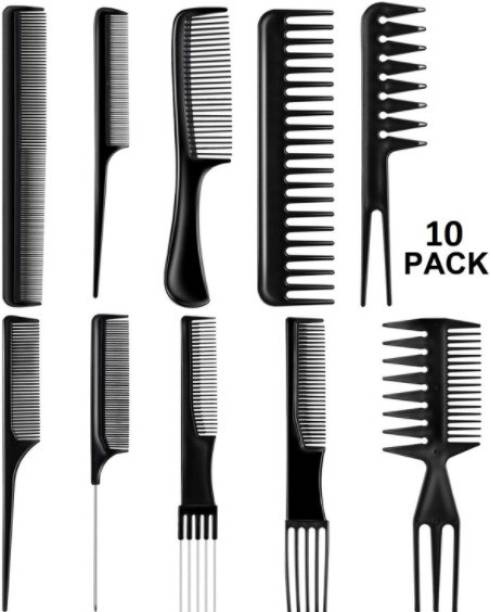 LOWPRICE Professional Hair Combs Salon Styling Tools Comb Set 10 Piece (Black)