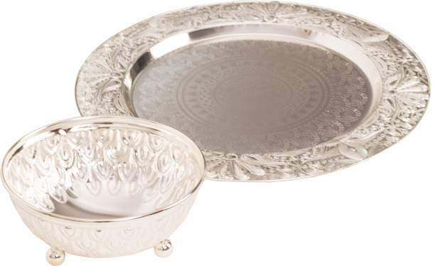 Golden Divine Creations Silver Metal Zinc Finished Decorative Round Bowl Plate, Serving and Gifting Tray, Diwali, Dussehra Keyboard Tray