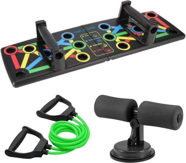 Niklace Home Gym Combo Kit, Fitness Kit for Men & Women, Push Up Board + Sit Up assistant + Resistance Tube Gym & Fitness Kit
