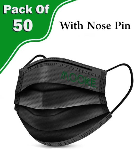 Mooke 3 Ply Surgical Mask With Nose Pin, Unbreakable Ear loops (Ultrasonically Welded) & Ultra Soft Ear loops (which does not hurt ears) 3 Layer Pharmaceutical Breathable Surgical Pollution Face Mask For Men, Women, Kids{Pack Of 50}(Black) Surgical Mask With Melt Blown Fabric Layer